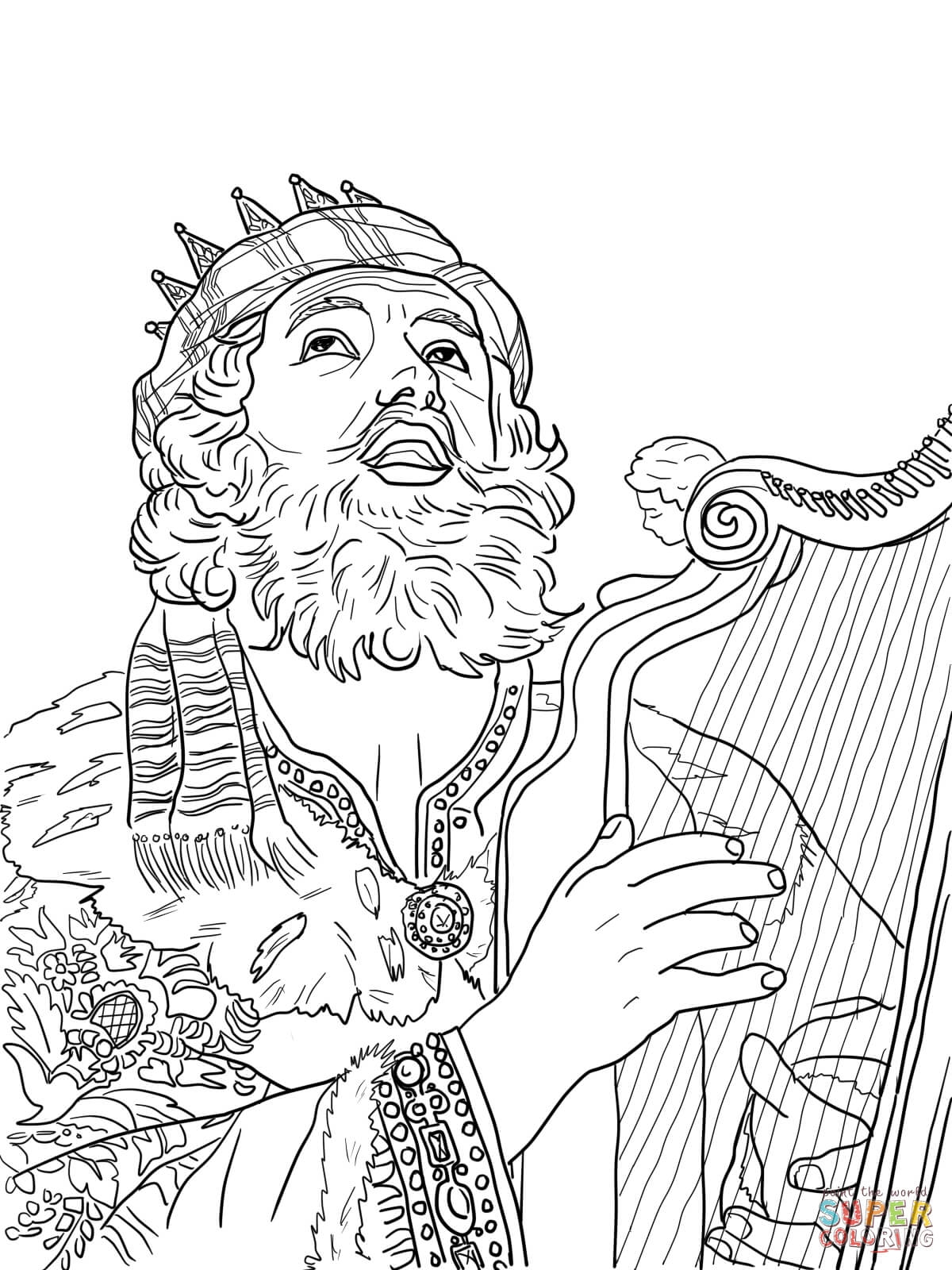 Esther Coloring Pages - Ausmalbild König David Spielt Auf Der Harve