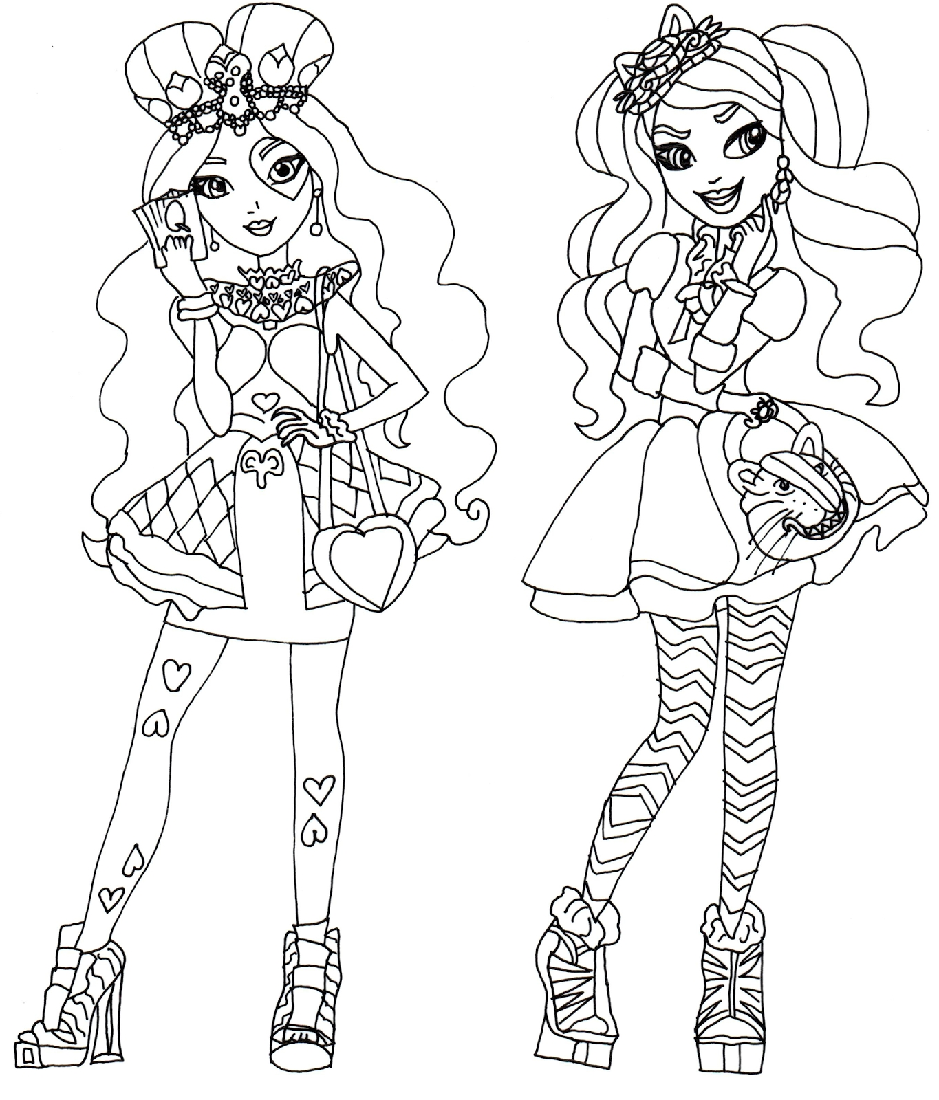 ever after high coloring pages - lizzie hearts and kitty cheshire ever