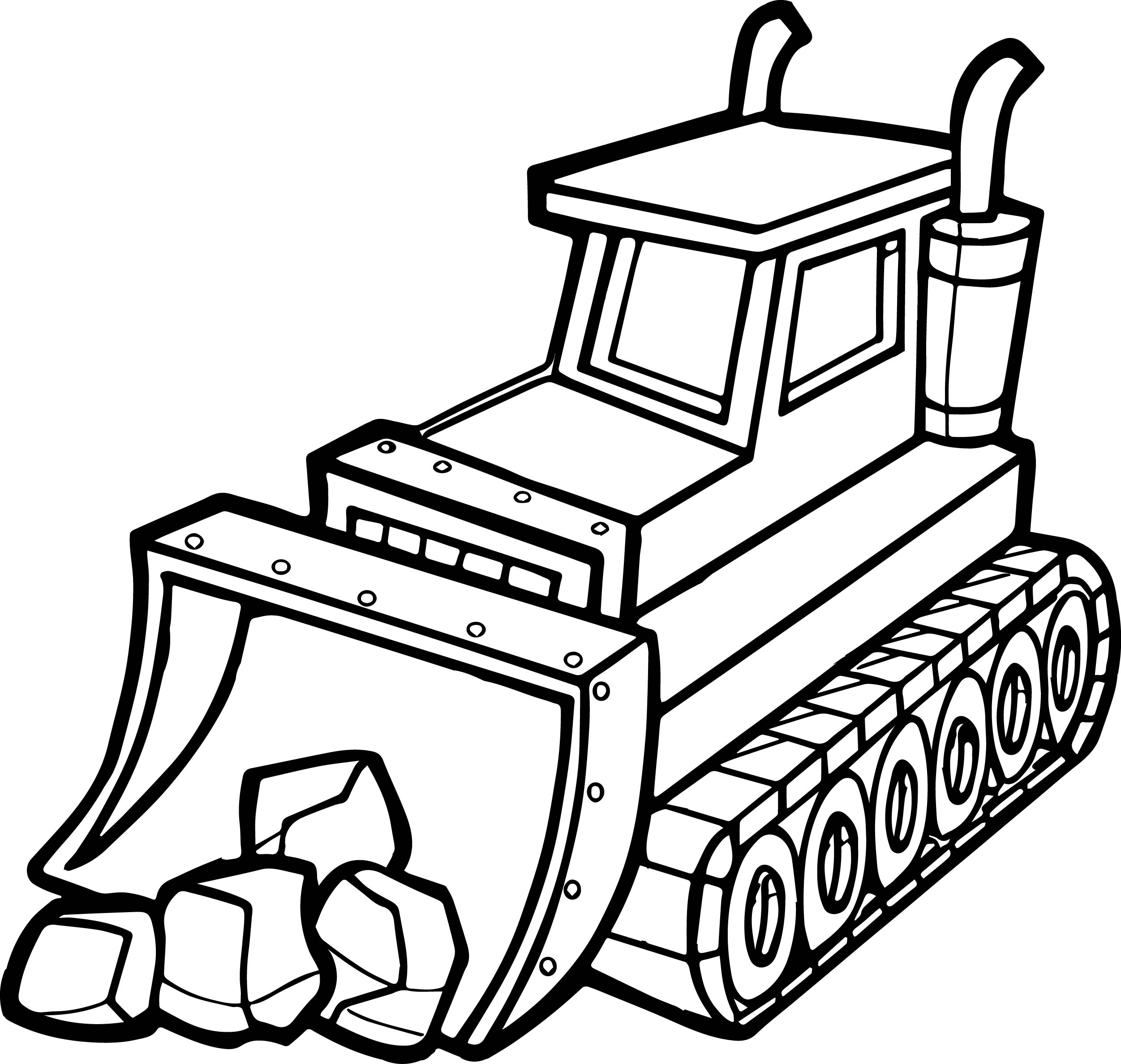 Excavator Coloring Page - Best Stone Shovel Bulldozer Coloring Page