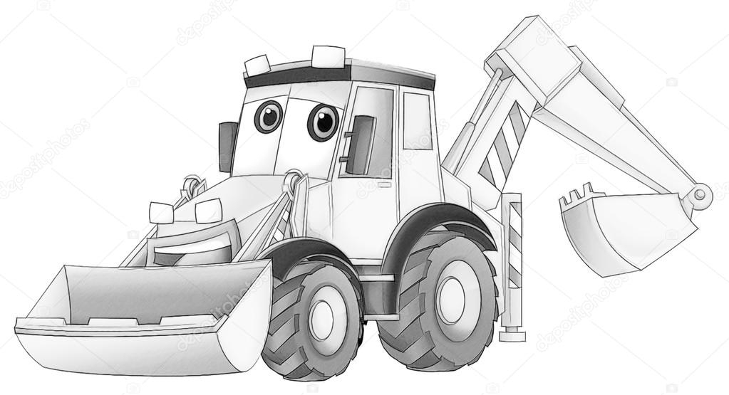 excavator coloring page - stock photo coloring page excavator