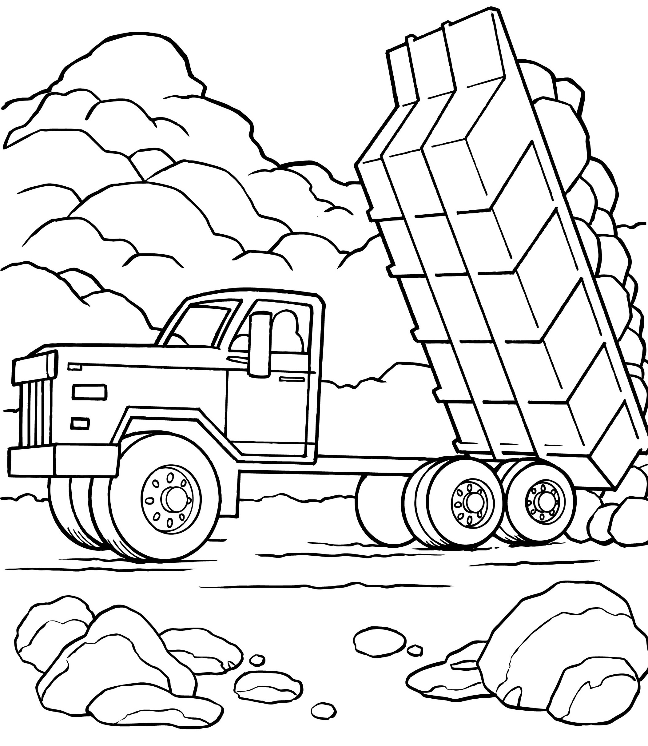 excavator coloring page - printable dump truck coloring pages