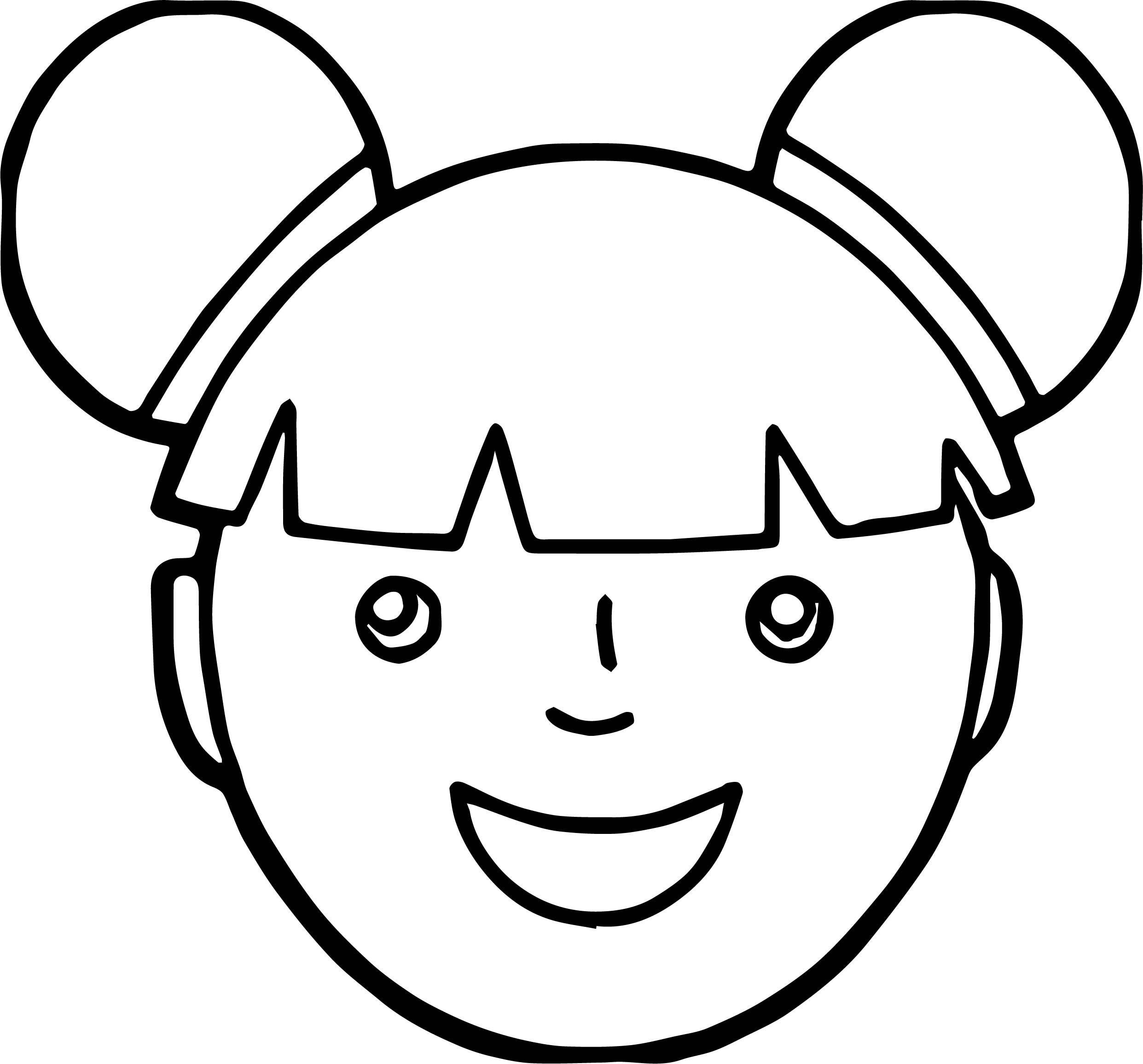 face coloring page - asian girl face coloring page