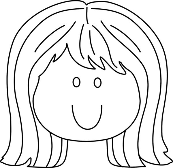 face coloring page - little girl smiling face coloring page