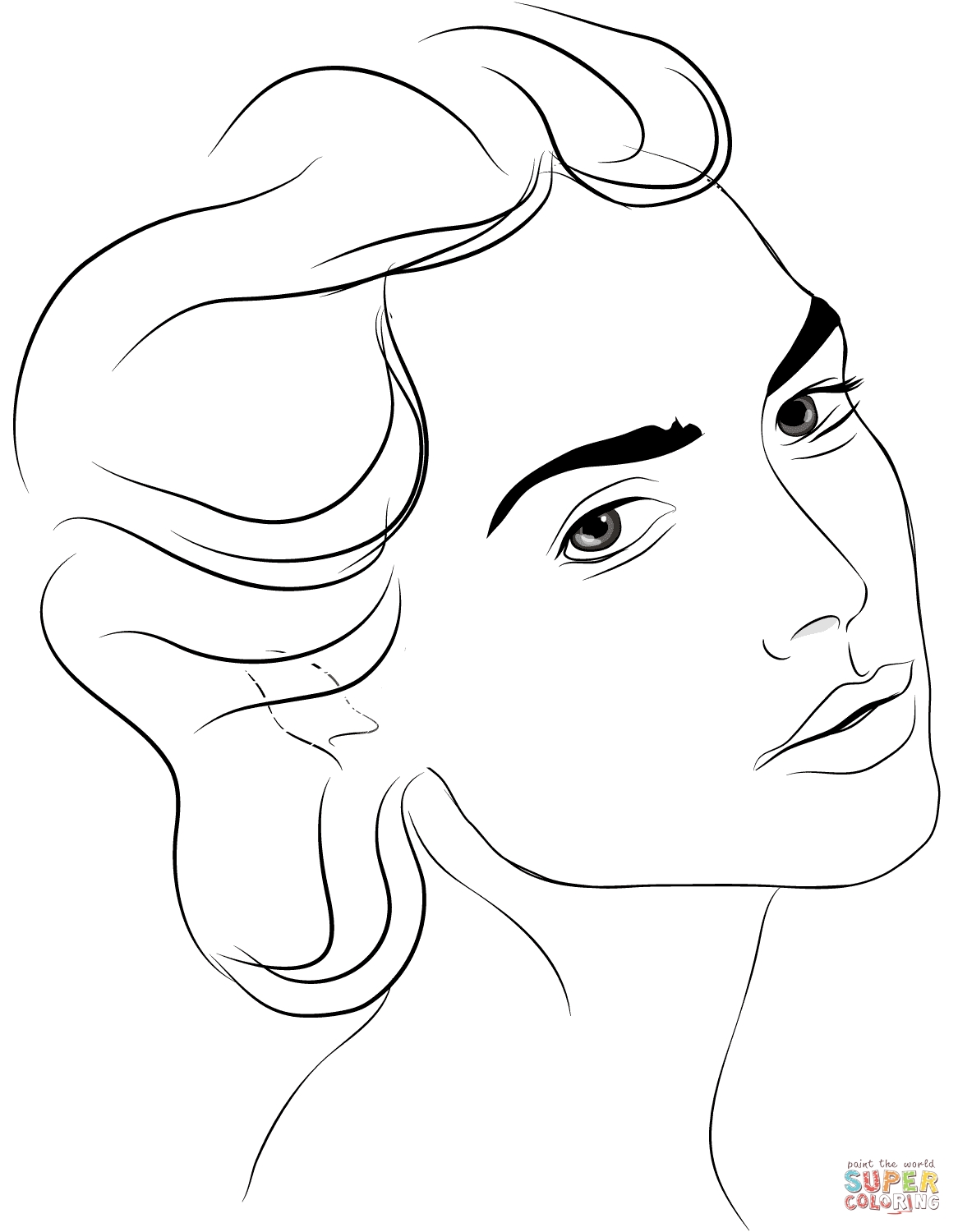 face coloring page - womans face 1