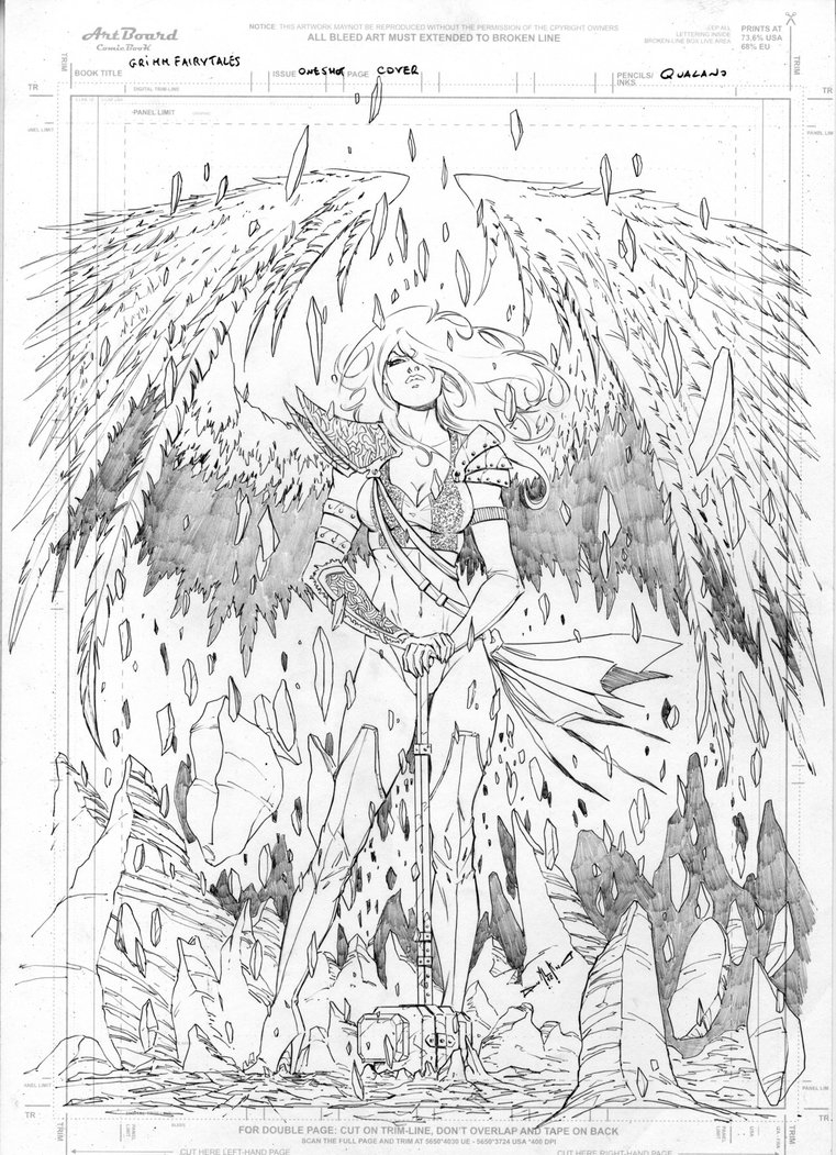 fairy coloring pages for adults - Grimm Fairy Tales Angel cover