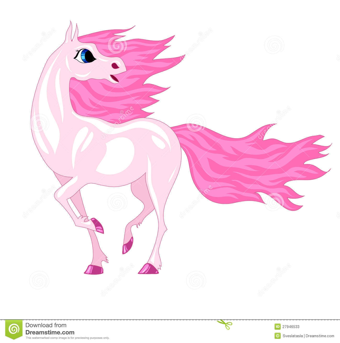 fairy princess coloring pages - stock photos magical horse pink mane image