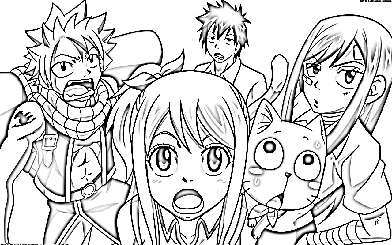 fairy tail coloring pages - fairy tail anime coloring pages