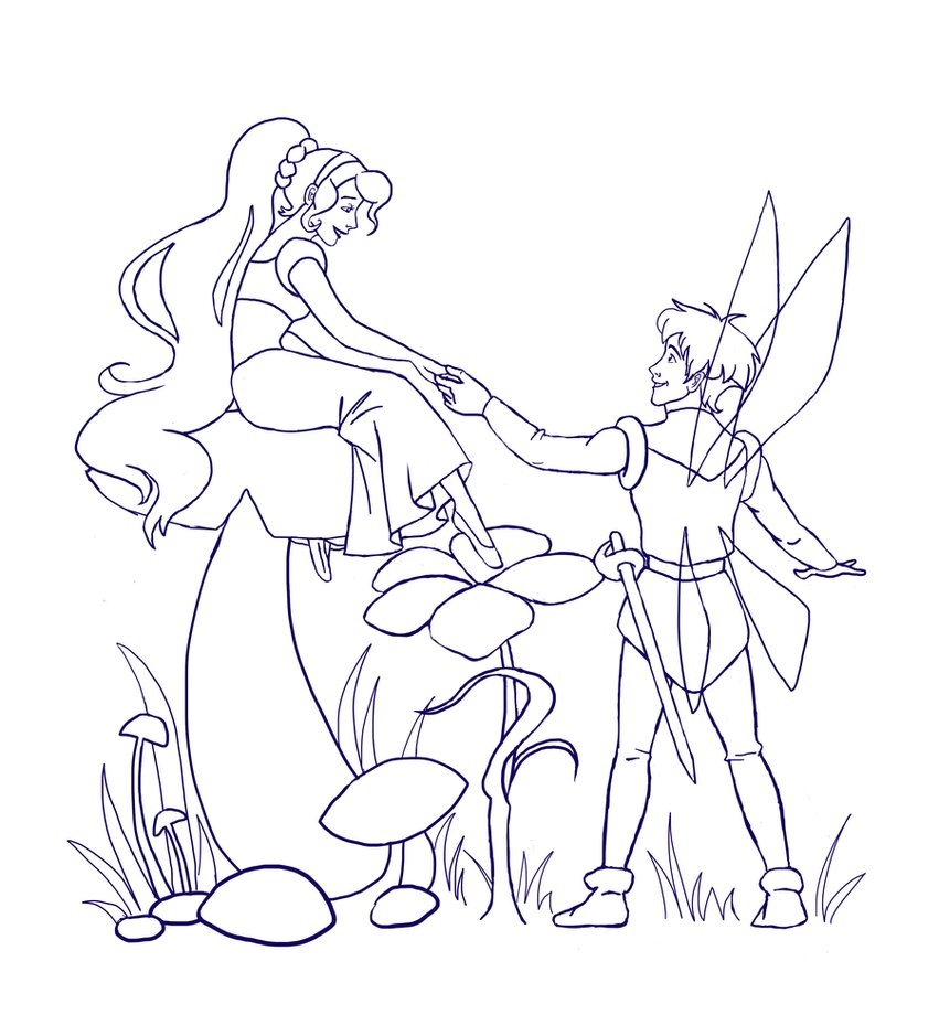 fairy tale coloring pages - Thumbelina WIP Lineart