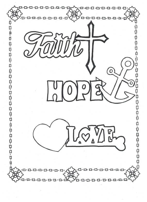 faith coloring pages - faith hope love coloring page