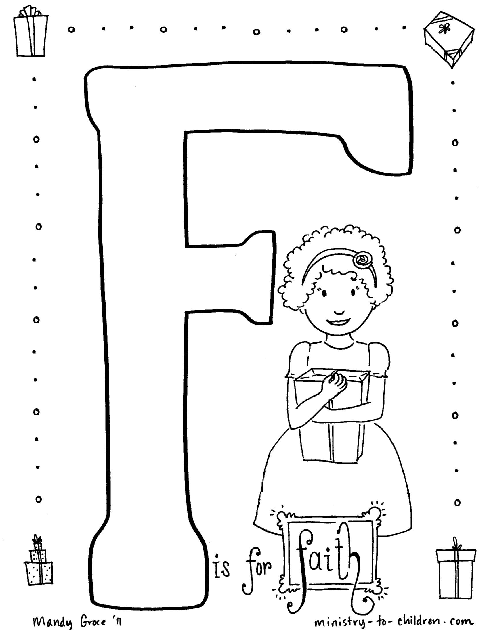 faith coloring pages - f is for faith coloring page
