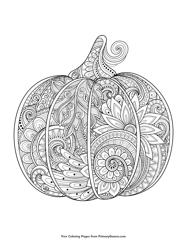 fall coloring pages - 13 zentangle pumpkin