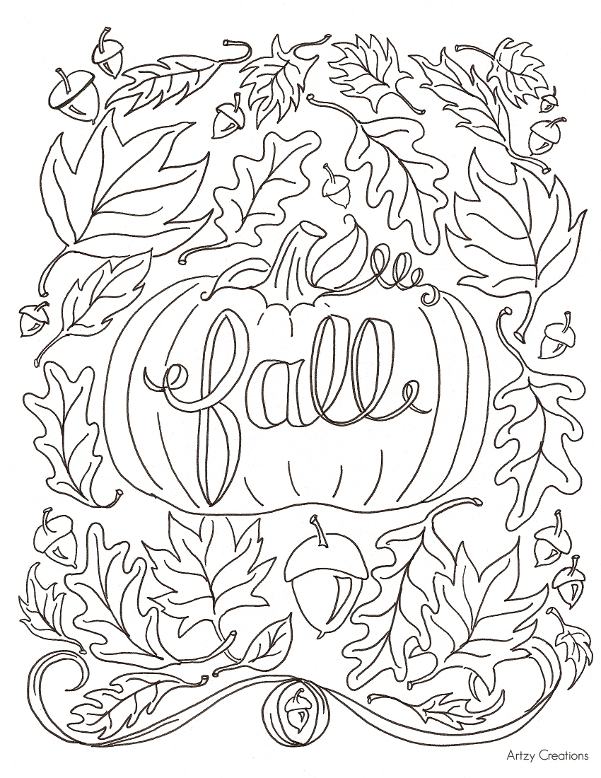 fall coloring pages for adults - free fall coloring page