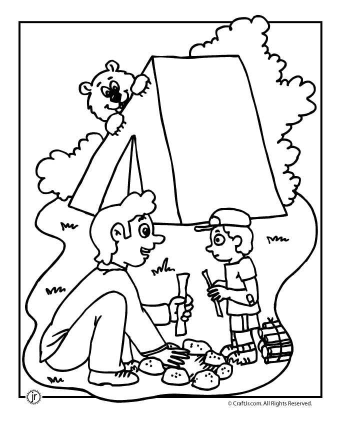 fall coloring pages for preschoolers - camping coloring pages