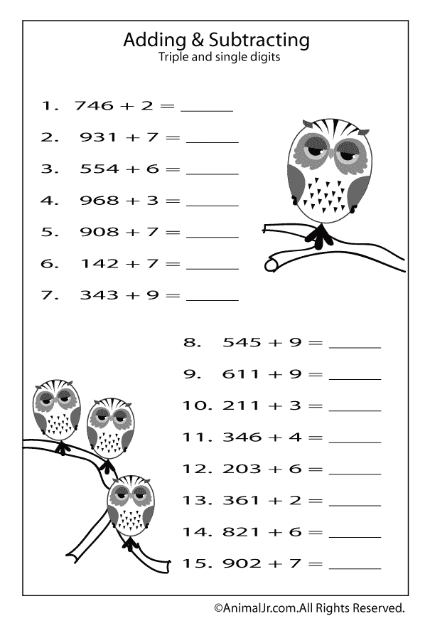 fall coloring pages for preschoolers - adding subtracing triple di