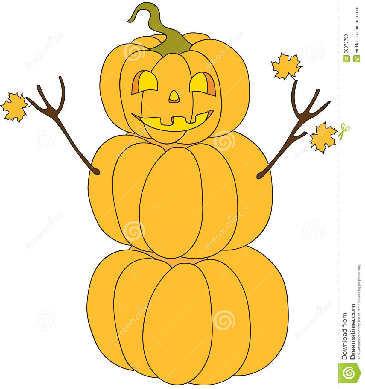 fall leaves coloring pages - stock illustration halloween pumpkin snowman cartoon character vector illustration image