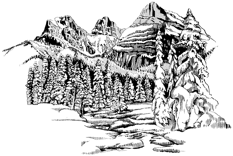 fall tree coloring pages - detailed nature landscape coloring pages for adults with mountain also forest