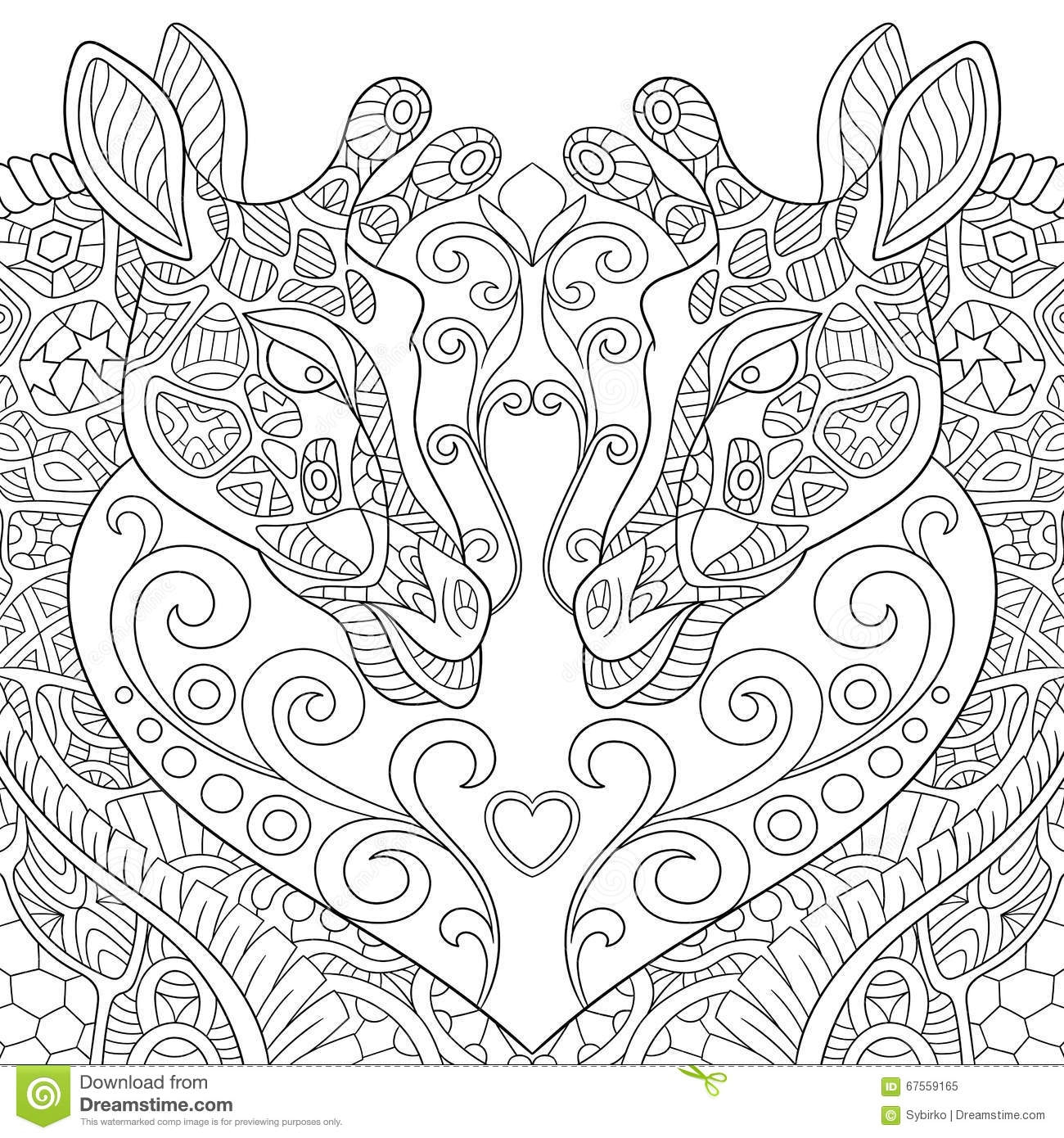fall tree coloring pages - stock illustration zentangle stylized two lovely giraffes heart cartoon sketch adult antistress coloring page hand drawn doodle image
