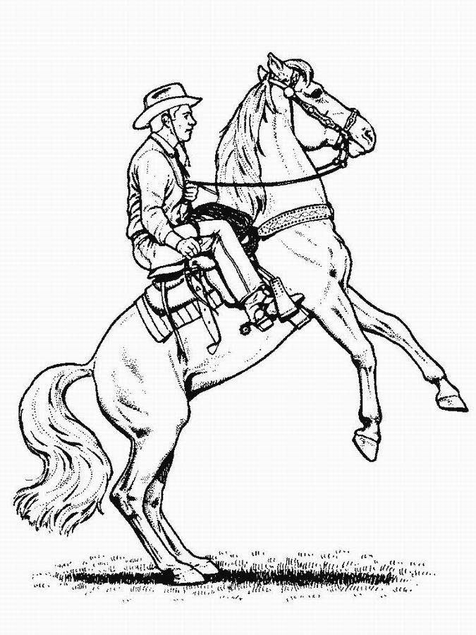 fancy coloring pages - cowboys