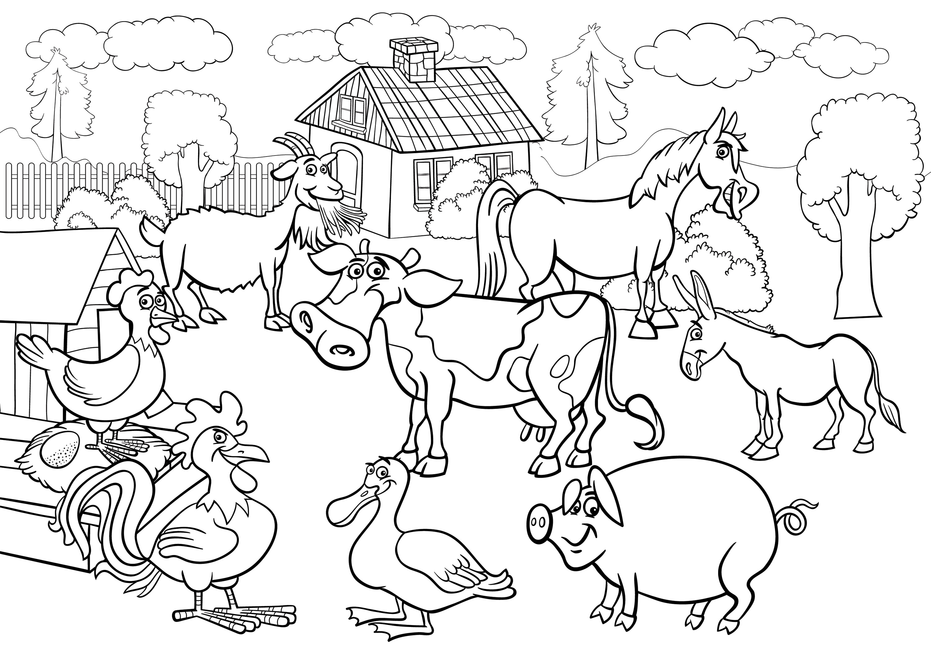 farm coloring pages - farm animal coloring pages