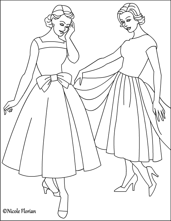 fashion coloring pages - vintage fashion coloring page