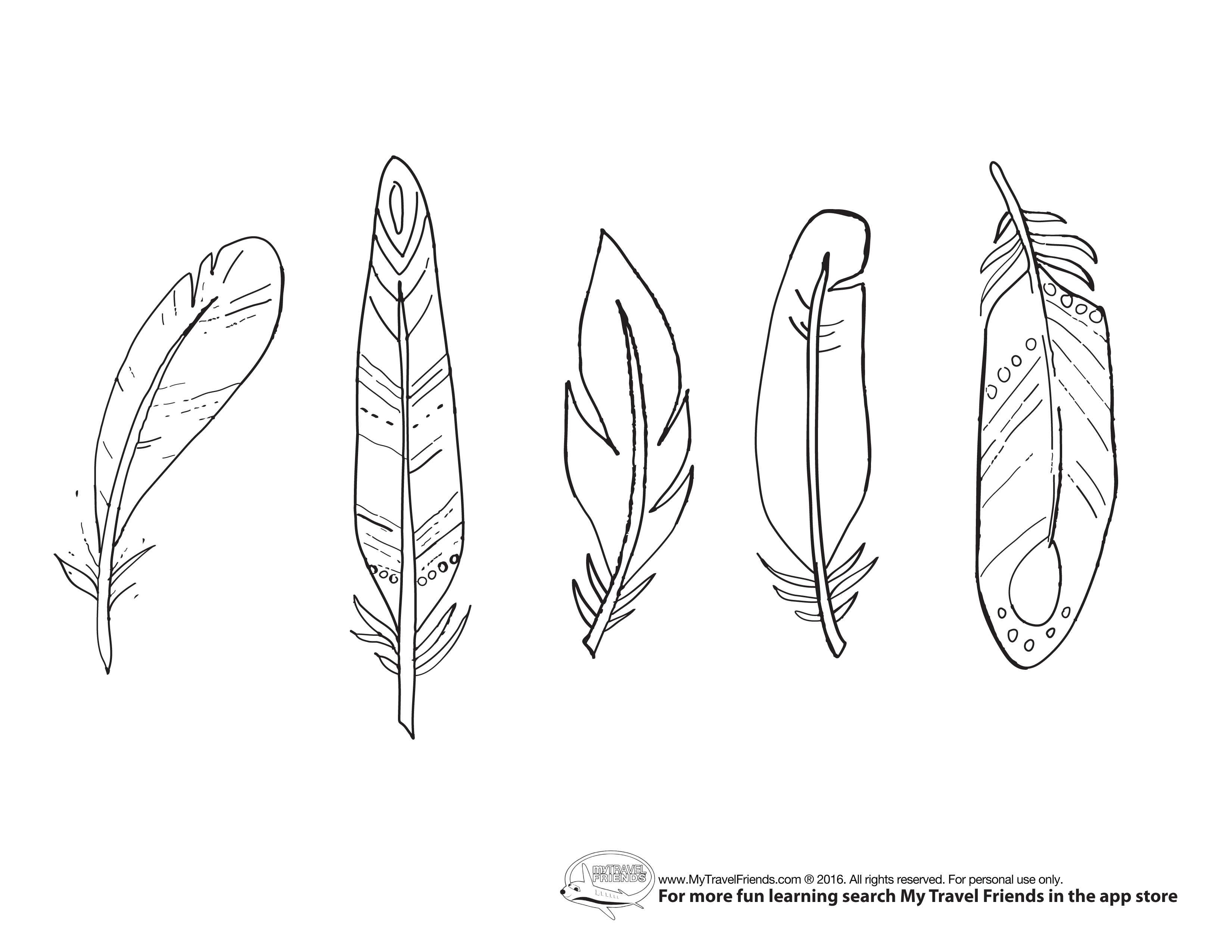 feather coloring pages - feather sketch templates