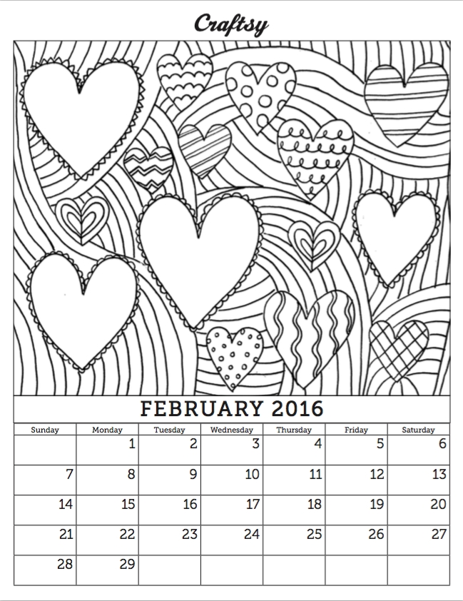 february coloring pages - february 2016 coloring calendar