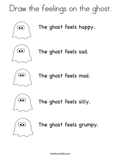 feelings coloring pages - draw the feelings on the ghost coloring page
