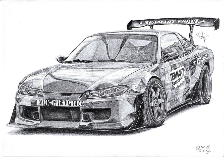 ferrari coloring pages - Nissan 200sx Silvia S13 TeamArtForce