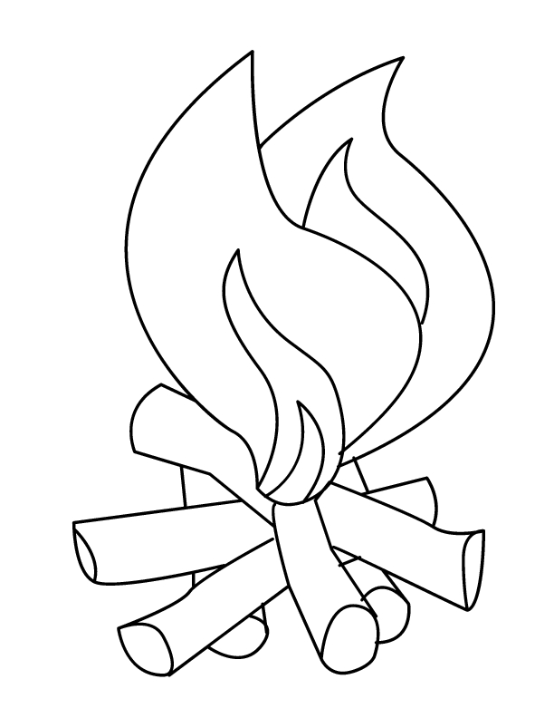 fire safety coloring pages - camp fire images