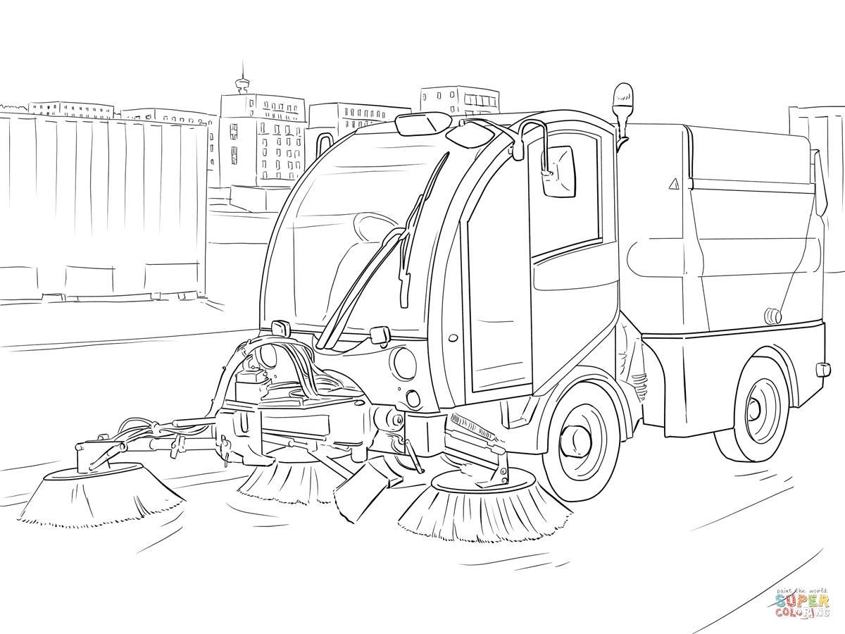 fire truck coloring page - street sweeper