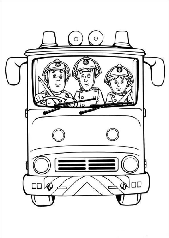 fireman sam coloring pages - q=fireman sam fire engine