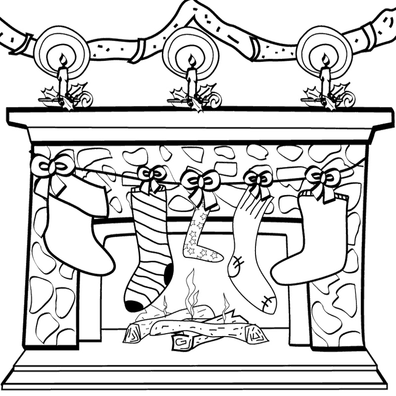 fireplace coloring page - page decoration