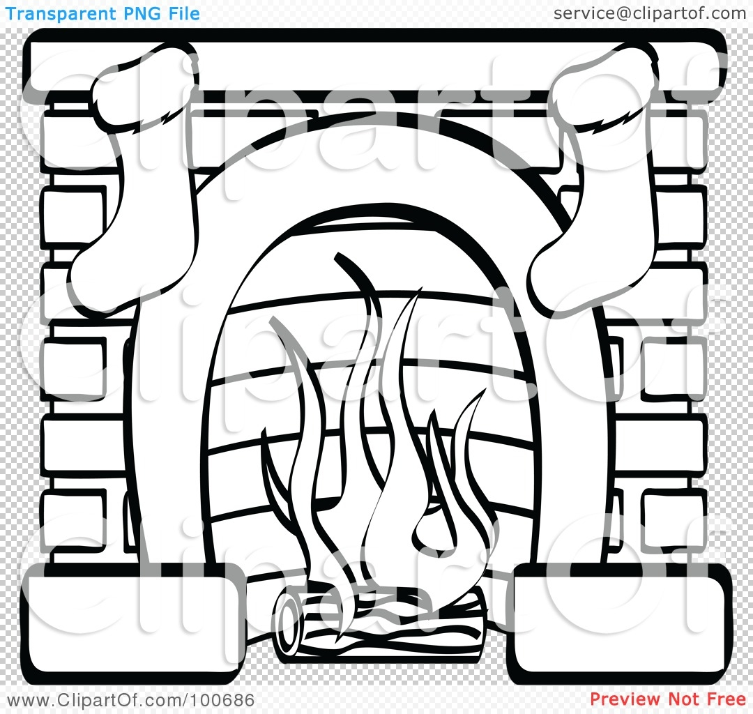 fireplace coloring page - coloring page outline of a fireplace with two christmas stockings