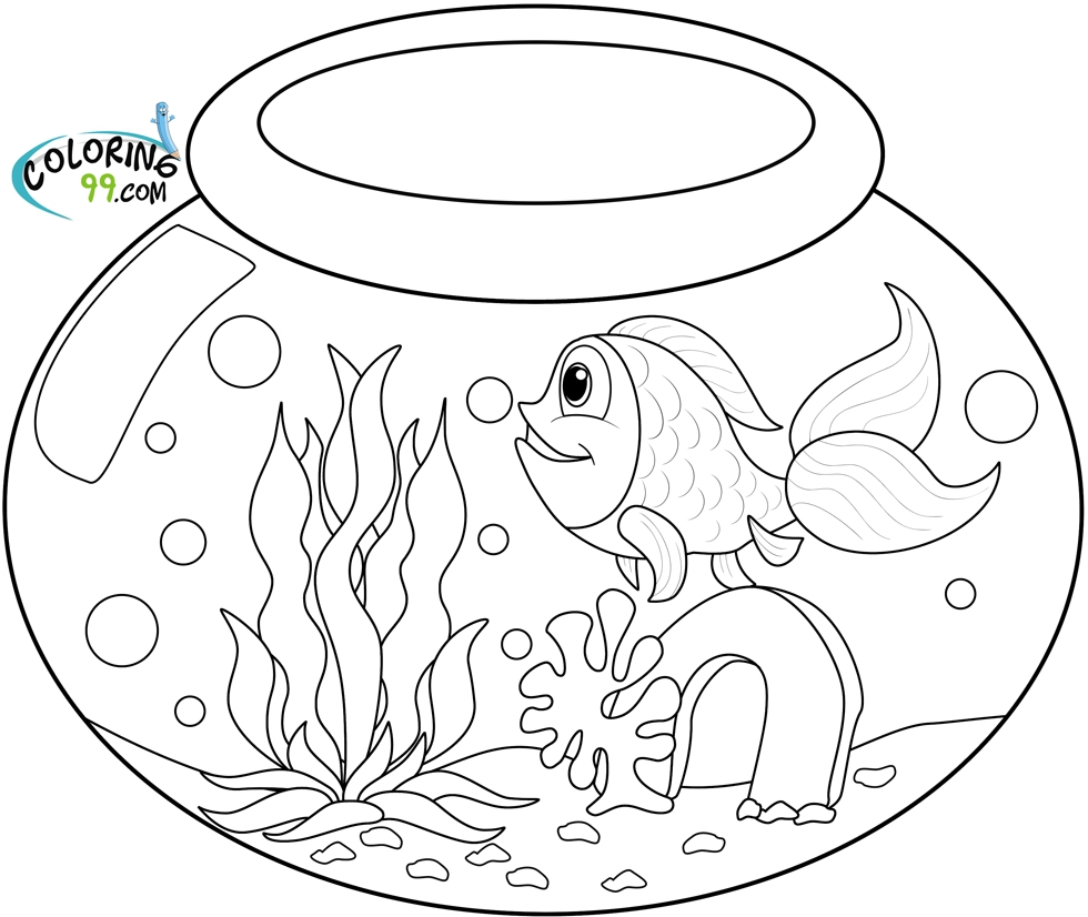 Fish Bowl Coloring Page - Goldfish Coloring Pages