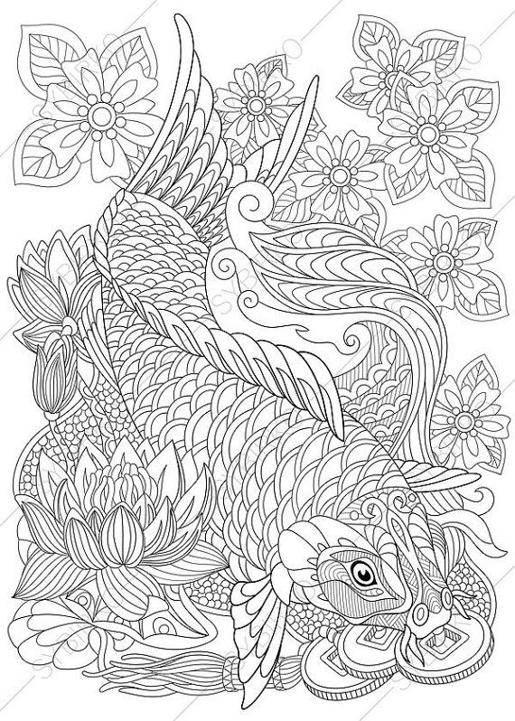 fish coloring pages for adults - ocean coloring pages