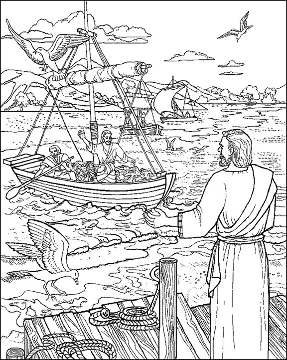 Fishers Men Coloring Page - Worksheet & Coloring Pages