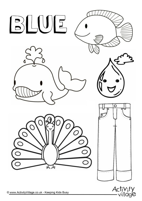 five senses coloring pages - blue things colouring page