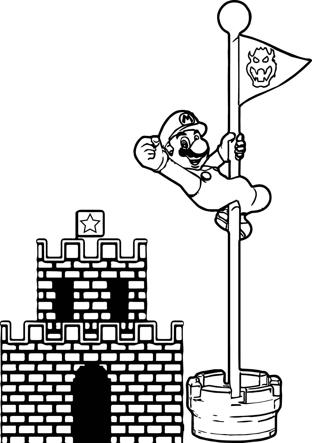 flag coloring pages - super mario castle pole coloring page