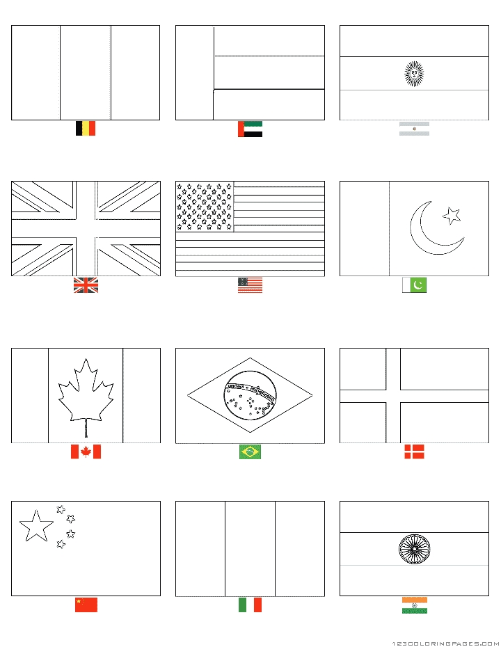 flags of the world coloring pages - country flags