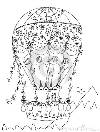 flip flop coloring pages - stock illustration heart shaped hot air balloon vector design valentine s day zentangle coloring book adults coloring page zentangle image