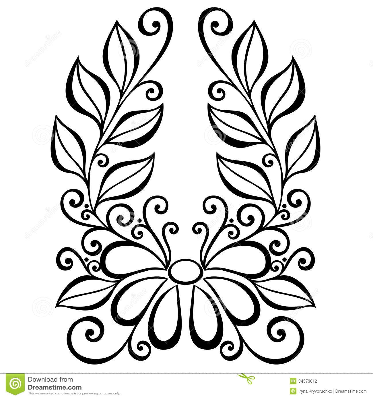 floral coloring pages - stock photography decorative flower leaves beautiful vector patterned design image