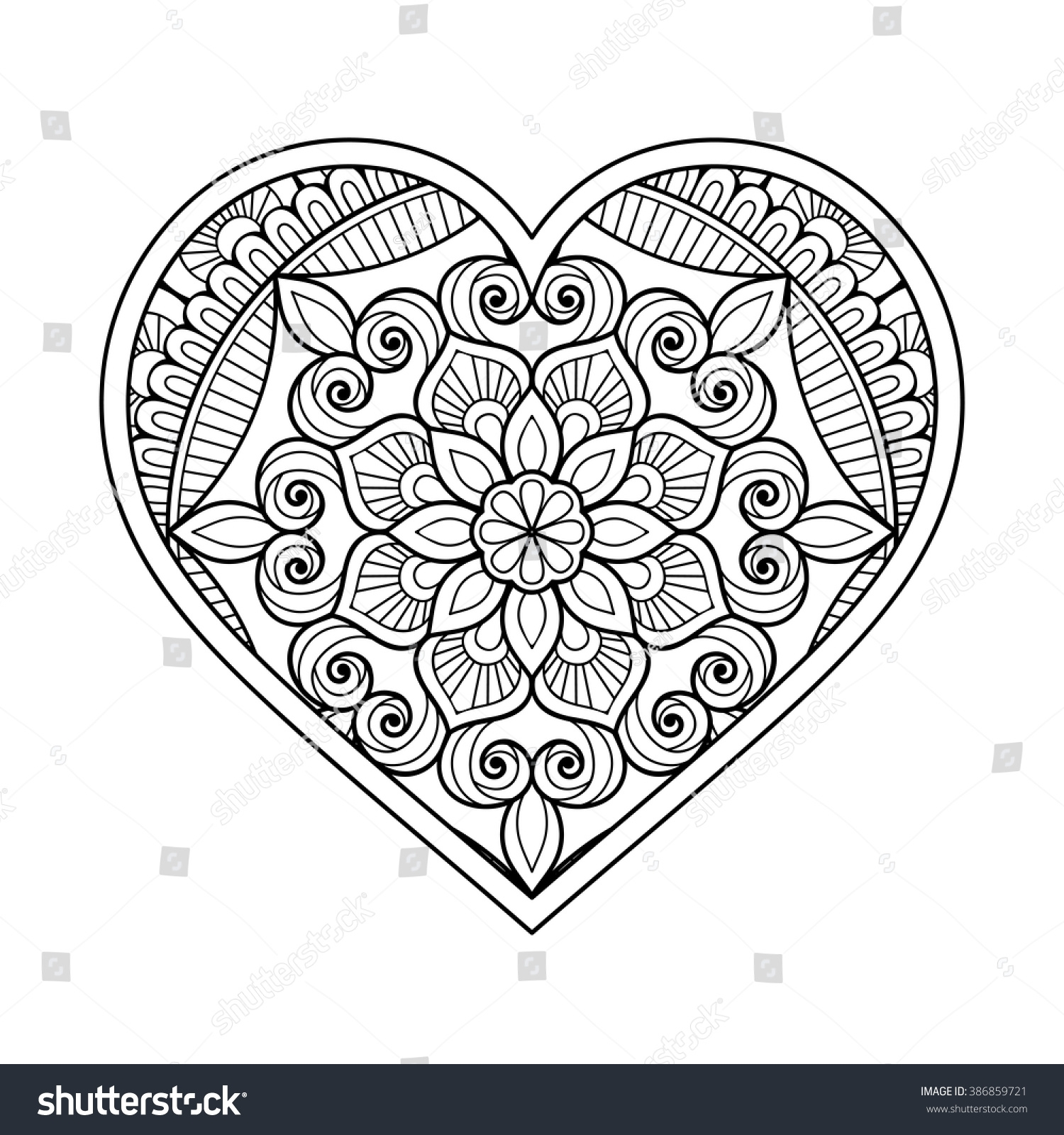floral coloring pages - heart floral mandala vintage decorative elements