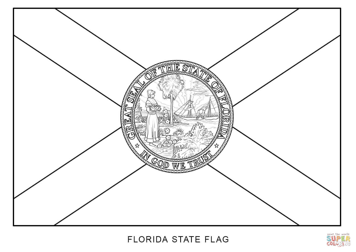 florida coloring page - flag of florida