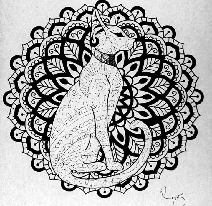 flower adult coloring pages - tatuagens de gatos egpcios