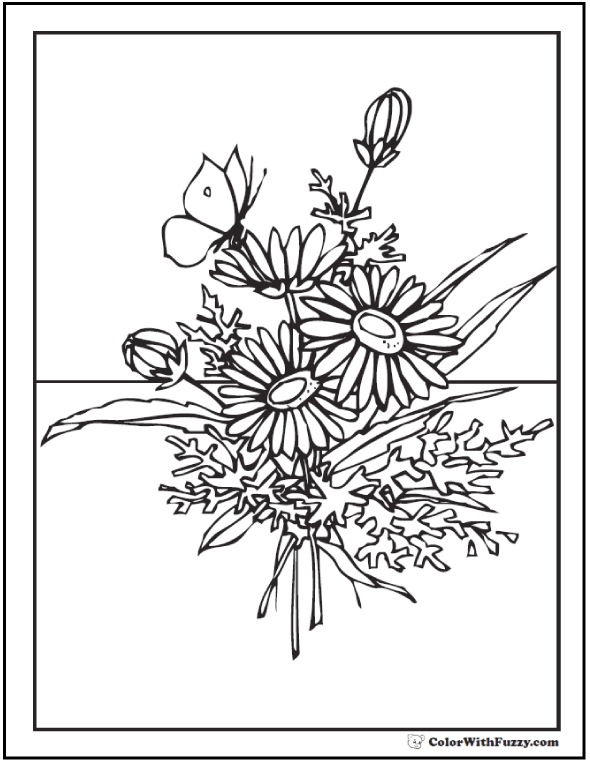 flower bouquet coloring pages - flower coloring pages