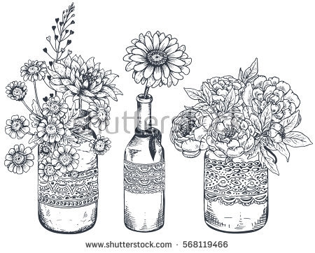 flower bouquet coloring pages - flower sketch