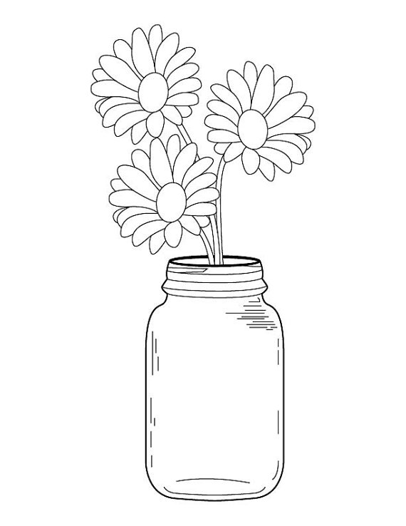 flower bouquet coloring pages - mason jar daisy bouquet coloring page