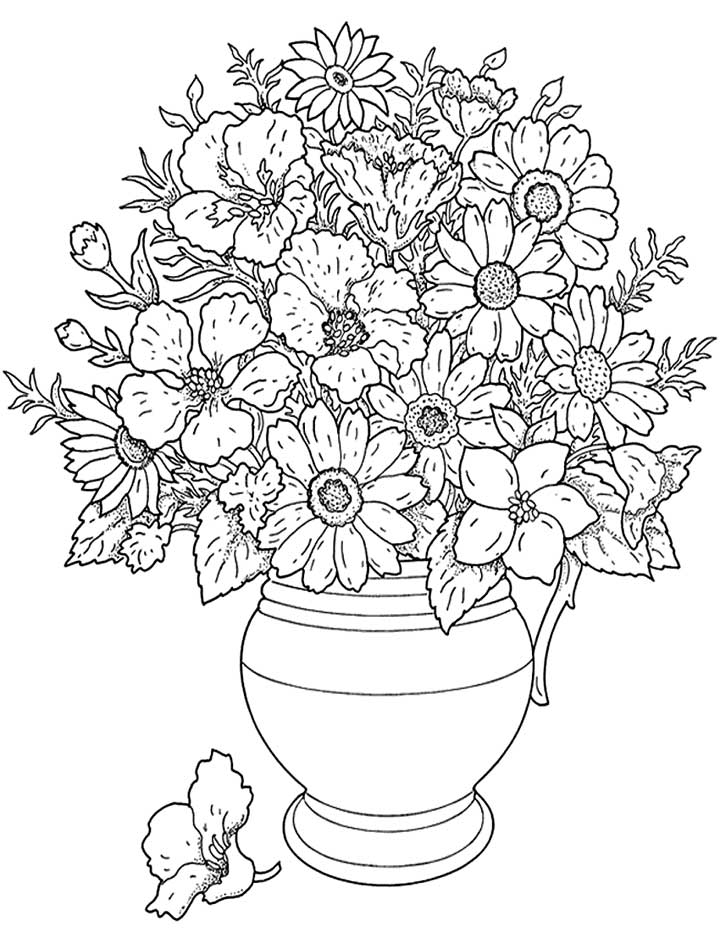 flower coloring pages - hard flower coloring pages