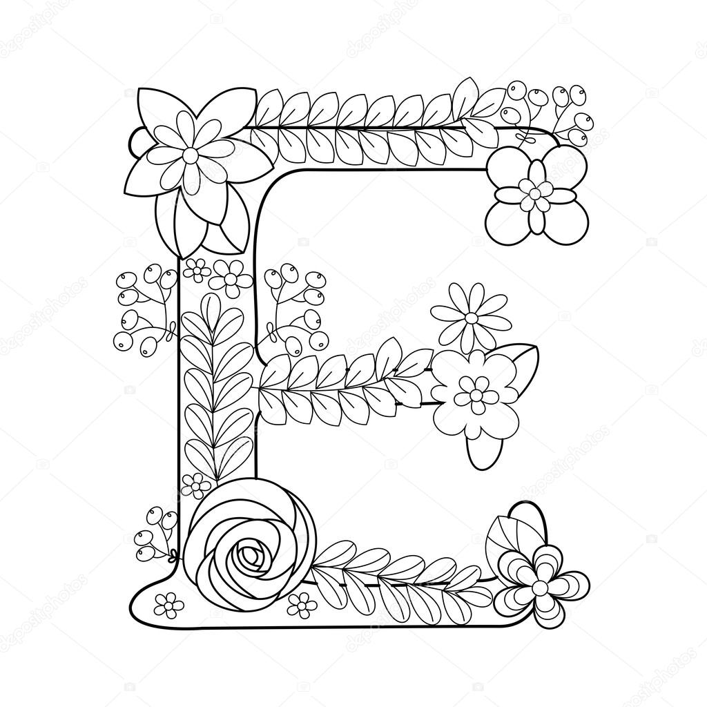 flower coloring pages for adults - stock illustration letter e coloring book for