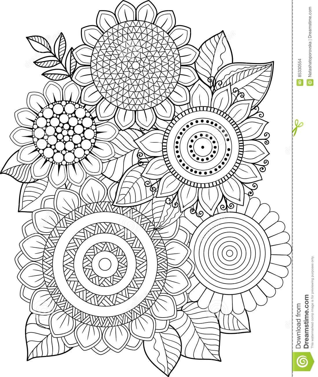 flower garden coloring pages - stock illustration black white sunflowers isolated white abstract doodle background made flowers butterfly vector coloring page summer image
